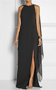 Women's Plus Size Elegant Shift Dress - Solid Colored Black, Split Maxi