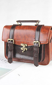 Women's Bags PU Satchel Buttons Zipper for Casual All Seasons Red Brown