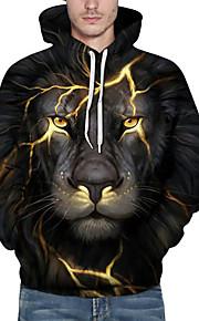 Ανδρικά Ενεργό Μεγάλα Μεγέθη Φαρδιά Παντελόνι - 3D / Ζώο Λιοντάρι, Στάμπα Μαύρο / Με Κουκούλα / Μακρυμάνικο / Φθινόπωρο / Χειμώνας