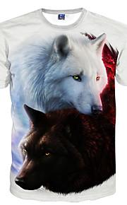 男性用 クラブ - プリント Tシャツ ベーシック ラウンドネック スリム 動物 オオカミ / 半袖