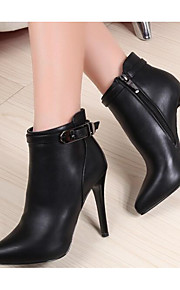 Women's Shoes PU Spring Fall Comfort Bootie Boots Stiletto Heel for Casual Black Red