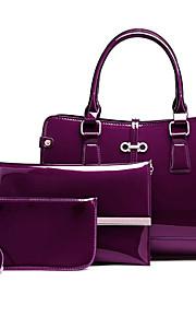 Women's Bags PU Bag Set 3 Pcs Purse Set Zipper for Casual Outdoor Winter Fall Blue Black Red Purple
