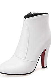 Women's Shoes Leatherette Winter Fashion Boots Boots Chunky Heel Pointed Toe Booties/Ankle Boots for Casual Dress White Black Red