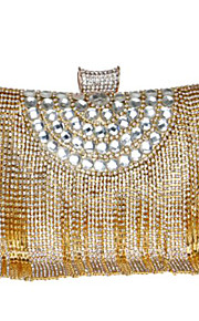 Women's Bags PU Evening Bag Buttons Crystal Detailing Tassel for Casual All Seasons Gold