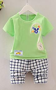 Toddler 0-12 Aylık Genç Erkek Günlük Günlük Kumsal Desen Kısa Kollu Pamuklu Kıyafet Seti Yonca