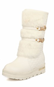 Women's Shoes PU Spring Fall Comfort Snow Boots Boots Wedge Heel Mid-Calf Boots for Casual White Black