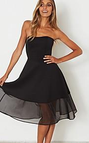 סטרפלס מותניים גבוהים אחיד - שמלה סווינג בגדי ריקוד נשים