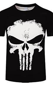 男性用 プリント プラスサイズ Tシャツ ラウンドネック スカル / 半袖