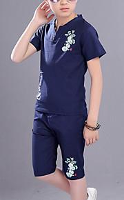 Barn Pojkar Ledigt Dagligen Tryck Kortärmad Normal Konstsilke Klädesset Blå