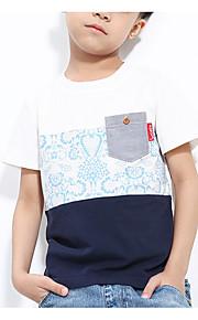 Çocuklar Genç Erkek Basit Günlük Zıt Renkli Temel Kısa Kollu Pamuklu Tişört Beyaz
