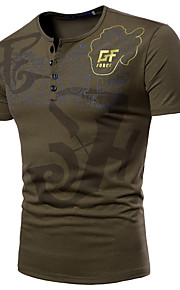 男性用 スポーツ - プリント プラスサイズ Tシャツ ベーシック / 軍隊 ラウンドネック レタード / 半袖