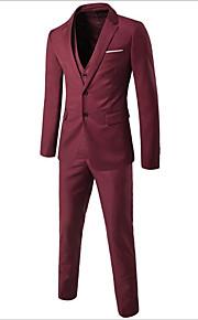 男性用 お出かけ / ワーク ストリートファッション プラスサイズ レギュラー スーツ, ソリッド ピークドラペル 長袖 コットン / アクリル ワイン / ライトブルー / ライトグレー 4XL / XXXXXL / XXXXXXL / ビジネスカジュアル / スリム
