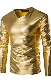 남성용 솔리드 V 넥 슬림 티셔츠, 베이직 면 골드 XXXL / 긴 소매