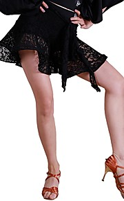 Латино Балетные пачки и юбки Жен. Учебный Кружева Молочное волокно Кружева Средняя талия Юбки