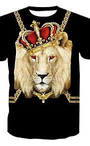 男性用 プリント プラスサイズ Tシャツ ベーシック ラウンドネック 動物 コットン / 半袖 / ロング