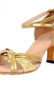 Mujer Latino Zapatillas de Baile Semicuero Tacones Alto Diario Entrenamiento Tacón Cuadrado Dorado Plata 2 - 2 3/4inch Personalizables