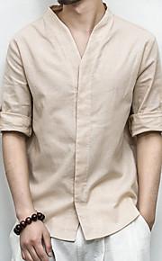 Муж. Рубашка Лён Классический Однотонный Бежевый XXXL / Длинный рукав