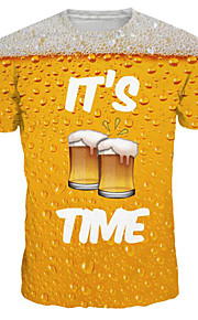 Hombre Básico / Exagerado Tallas Grandes Estampado Camiseta, Escote Redondo Letra Amarillo XL / Manga Corta / Verano