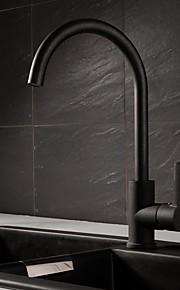 욕실 싱크 수도꼭지 - 회전가능 페인팅 블랙 세면대 수전 싱글 핸들 하나의 구멍
