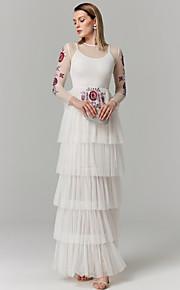 Princesse Illusion Neckline Longueur Sol Spandex Tulle Soirée Formel Robe avec Appliques Etagée par TS Couture®