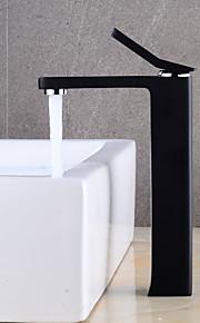 バスルームのシンクの蛇口 - 組み合わせ式 ペインティング ブラック センターセット シングルハンドルつの穴
