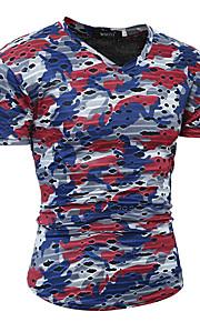 Rund hals Tynd Herre - camouflage Bomuld Aktiv / Basale T-shirt Rød L / Kortærmet / Forår / Sommer
