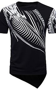 Ανδρικά T-shirt Κλαμπ Ενεργό / Βασικό Γεωμετρικό Λαιμόκοψη V Μαύρο L / Κοντομάνικο / Μακρύ