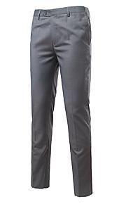 男性用 コットン スリム スーツ パンツ - ソリッド ネイビーブルー / ワーク