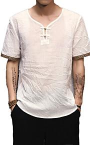 Hombre Básico / Chic de Calle / Tejido Oriental Lino Camiseta, Escote en Pico Un Color Gris XXXL / Manga Corta / Largo