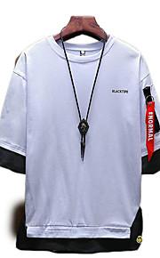 Pánské - Jednobarevné Tričko Kulatý Bílá XXXL