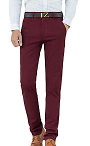 Erkek Basit / Temel Pamuklu İnce Takım Elbise / Chinos Pantolon - Solid Ordu Yeşili / Parti / Çalışma