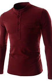Hombre Básico Algodón Camiseta, Escote Chino Un Color Blanco L / Manga Larga