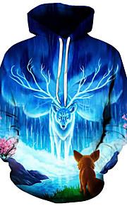 Муж. Активный / преувеличены Большие размеры Свободный силуэт Брюки - 3D / Мультипликация С принтом Синий / Капюшон / Длинный рукав / Осень / Зима