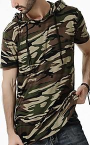 Herrn camuflaje - Militär Baumwolle T-shirt, Mit Kapuze Armeegrün L / Kurzarm / Lang