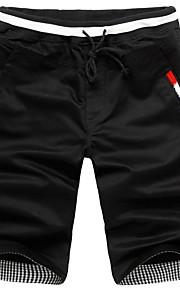 男性用 スリム チノパン / ショーツ パンツ - ソリッド ブラック