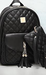 Naisten Vetoketjuilla Backpack Backpack PU Krokotiilikuvioinen Musta