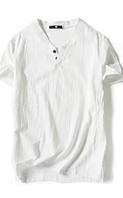 Hombre Básico Lino Camiseta, Escote Chino Un Color Blanco XXXL / Manga Corta