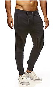 Муж. Классический / Уличный стиль Большие размеры Хлопок Штаны Брюки - Однотонный Черный / Спорт