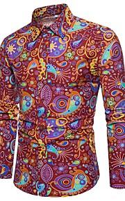 Heren Vintage / Standaard / Street chic Print Grote maten - Overhemd Linnen, Club Kleurenblok Slank Rood XXXL / Lange mouw