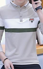 Муж. Большие размеры - Футболка Хлопок, Рубашечный воротник Полоски Зеленый XL / Длинный рукав