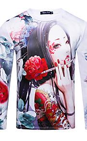 男性用 Tシャツ ラウンドネック スリム ポートレート コットン / 長袖