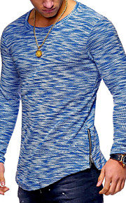男性用 パッチワーク Tシャツ ベーシック ラウンドネック スリム ソリッド コットン / 長袖