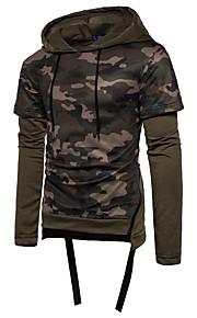 Herrn camuflaje - Grundlegend Baumwolle T-shirt, Mit Kapuze Schlank Schwarz L / Langarm