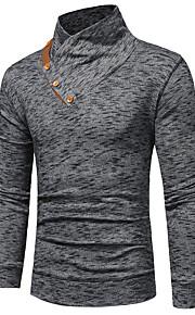 Hombre Básico Algodón Camiseta Delgado Un Color Azul Marino XL / Manga Larga