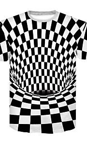 Hombre Básico / Chic de Calle Discoteca Estampado Camiseta, Escote Redondo Bloques Blanco y Negro Blanco XXL / Manga Corta / Verano
