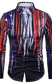 Hombre Chic de Calle / Punk & Gótico Discoteca Tallas Grandes Estampado Camisa Delgado Bloques Azul Marino XL / Manga Larga
