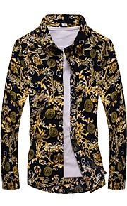 Hombre Vintage / Activo Tallas Grandes Estampado Camisa Geométrico Amarillo XXXXL / Manga Larga