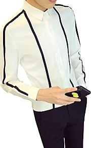 Hombre Negocios Trabajo Camisa, Cuello Inglés Delgado A Rayas / Bloques Blanco XXXL / Manga Larga / Otoño