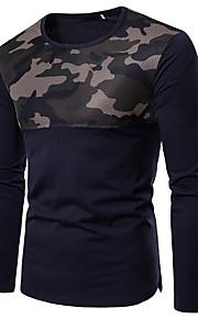 Herrn camuflaje - Grundlegend Baumwolle T-shirt, Rundhalsausschnitt Schlank Patchwork Weiß L / Langarm / Herbst