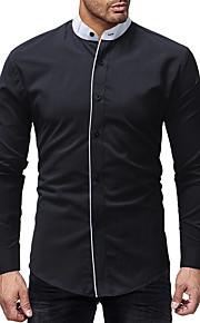 Hombre Básico / Chic de Calle Algodón Camisa Delgado Un Color Blanco XL / Escote Chino / Manga Larga / Otoño